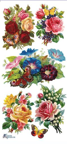 2 Sheets of Stickers x Stickers are acid free and perfect for card making, correspondence, scrap booking and paper crafts of all types. (making decoupage eggs) Victorian Flowers, Vintage Flowers, Butterfly Flowers, Flower Art, Butterflies, Vintage Cards, Vintage Paper, Vintage Pictures, Vintage Images