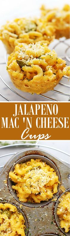 Jalapeno Macaroni and Cheese Cups   www.diethood.com   Easy, cheesy, spicy, and creamy, these Macaroni and Cheese Cups are the perfect snack for your next tailgating party! (Dairy-Free)