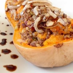 ➡️ Amazing and Simple Recipe ⬅️ . Bacon Beef Butternut Squash that will change your life, TAG your friends . ✔️Prep time:15 minutes ✔️Cook time: 50 minutes ✔️Serves: 4 people . Ingredients: 1 butternut squash, cut in half 1 pound ground beef 6 slices of bacon 3 small onions, sliced 1 reserved 1 stalk celery, diced salt to taste pepper to taste 1 tablespoon cinnamon 2 tablespoon balsamic vinegar . Instructions: 1. Preheat oven to 350 2. Cut squash in half and scrape out seeds 3. Place face…