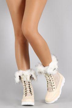 Faux Fur Lace Up Winter Snow Boots