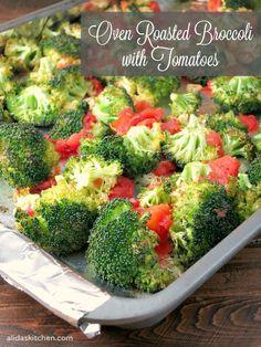 An easy recipe for Oven Roasted Broccoli with Tomatoes {vegan, gluten free} @HuntsChef HuntsAtHome AD   alidaskitchen.com