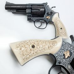 Engraved Smith & Wesson - hunting hint: When going after javelina, take along a good magnum revolver. This engraved Smith & Wesson Model 29 revolver must have been made up for a hog hunter who wanted a short, easily carried backup sidearm going after big pig in the brush. The golden inlays on either side of the frame help confirm the javelina game designation, and the carved ivory grip panels would give a non-slippery hold in fast drawing. At the NRA National Firearms Museum in Fairfax…