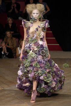 """Tania Dzyagileva wearing Alexander McQueen dress made of frozen flowers from the """"Sarabande"""" Spring/Summer 2007 collection"""