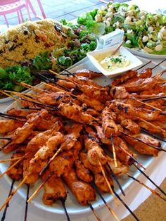 Wedding Reception Food This popped up so many times when I was looking at buffet food options that I figure many people like it. - Marinated Chicken can be used as an appetizer or on a Buffet table. Wedding Buffet Food, Party Food Buffet, Wedding Reception Food, Wedding Catering, Catering Food, Catering Ideas, Wedding Dinner, Cheap Wedding Food, Catering Buffet