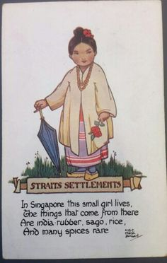 A Christmas card from the 1930 's from Singapore , when it was a British Colony...pictures a little Peranakan/Straits-Chinese girl.