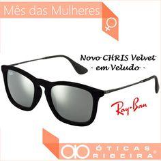 958b4f15e Óculos de sol! Mais um modelo em veludo da Ray Ban, NOVO Chris Velvet! Com  um formato