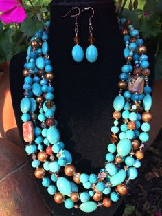 Turquoise & Copper-20 to 22 necklace and earring by LinLanJewelry
