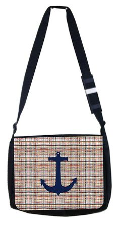 Navy anchor on modern crisscross Rosie Parker Inc. TM Medium Sized Laptop Messenger Bag 11.75' x 15.5' >>> See this great product. (This is an Amazon Affiliate link and I receive a commission for the sales)