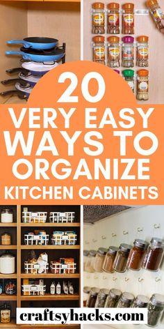 Kitchen Cabinets And Cupboards, Kitchen Cupboard Organization, Kitchen Organization, Organization Hacks, Organized Kitchen, Kitchen Organizers, Storage Hacks, Wall Storage, Garage Storage