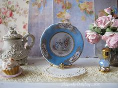Blue Sevres Greetings Dollhouse Plate by alavenderdilly on Etsy, $4.25