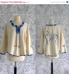 1970s Embroidered Butterfly Hippie Blouse/Top $38.00