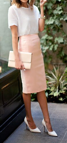 black and white striped blouse,  peach pencil skirt,  blush clutch,  white heels
