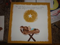 Did the manger footprint craft on canvas instead of a plate and really liked how it turned out