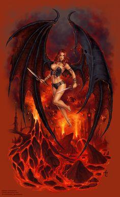 fantasy and science fiction Fantasy Kunst, Gothic Fantasy Art, Fantasy Art Women, Fantasy Girl, Fantasy Artwork, Fantasy Female Warrior, Female Art, Warrior Angel, Female Demons