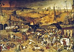 Pieter Brueghel the Elder, The Triumph of Death (c. in the Museo del Prado, Madrid. Brueghel was strongly influenced by the style of Hieronymus Bosch. Hieronymus Bosch, Salvador Dali, Renoir, Pieter Brueghel El Viejo, Renaissance Kunst, Pieter Bruegel The Elder, Black Death, Danse Macabre, Great Paintings