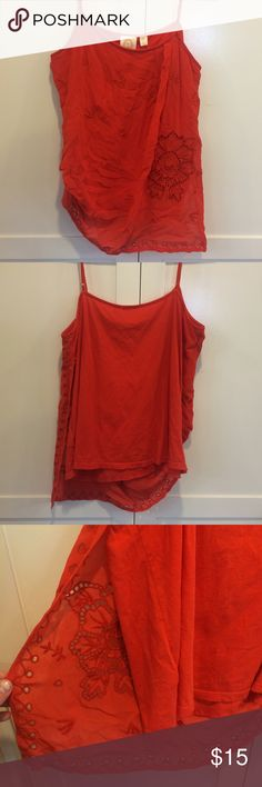 Rio Rao top Rio Rao adjustable spaghetti strap tank. Sheer knitted front panel with polyester liner. Goes great with denim and the sun! Worn only a few times. Rio Rao  Tops Tank Tops