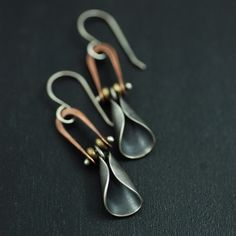 Earrings | MaggieJs Designs.  Sterling silver, copper and brass.