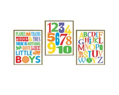 Planes Trains Trucks and Toys Wall Art Digital SET OF 3 by Especia