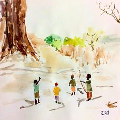 Kids are playing happily together. African kids are playing in the immense nature. How do Korean kids play?  These days, it's hard to see kids in São Paulo playing on the streets. #drawing  #watercolor  #kids #africankids #koreankids #saopaulo  #street As crianças brincam entre si. Brincam alegremente. As crianças da África brincam no meio da natureza e as crianças coreanas brincam de quê? Nas ruas de SP não se vê nenhuma criança brincando. 어린이들은 어린이들끼리 논다. 즐겁게 논다. 아프리카 어린이는 대자연 속에서 아프리카 놀이를…