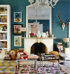 peacock blue walls