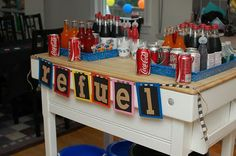 lots of cool race car themed party ideas - check out these pics!!!!  This is absolutely buddy's bday theme!!!!