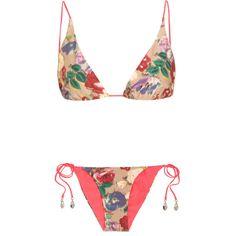 Zimmermann Haze reversible triangle bikini ($112) ❤ liked on Polyvore featuring swimwear, bikinis, beach, pink, colorful bikini, tie-dye swimwear, pink floral bikini, floral-print bikinis and zimmermann bikini