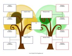One yellow tree and one green tree standing side by side represent adoptive and biological families in this three-generation, two-family family tree for adopted children. Free to download and print