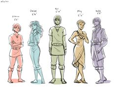 Tortall protagonists: Alanna, Daine, Kel, Aly, Beka (Tamora Pierce) I love this depiction of Beka :)