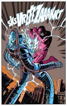 Stilt-Man by Chris Samnee Marvel Characters, Marvel Heroes, Cartoon Characters, Marvel Comics, Comic Book Artists, Comic Books Art, Comic Art, Marvel Comic Universe, Comics Universe