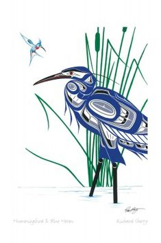 Hummingbird & Blue Heron by Richard Shorty - Click Image to Close Inuit Kunst, Art Inuit, American Indian Art, Native American Art, Native American Animal Symbols, Art Haïda, Kunst Der Aborigines, Indian Paintings, Art Paintings