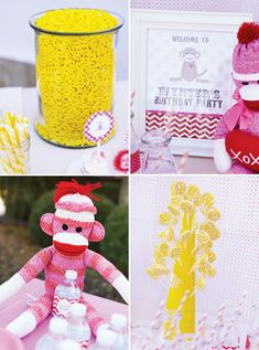 Girly Sock Monkey Themed Birthday Party #Pink #SockeyMonkey #Party