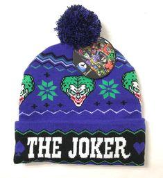 f5594282fdc65 THE JOKER UGLY SWEATER POM BEANIE Purple Winter Christmas Knit Ski Hat  Men Women  DCComics  Beanie