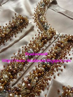 A woman needs ropes and ropes of pearls ❤️ EmbroidedNecklines pearlsandkun… – Handwerk und Basteln Zardosi Embroidery, Hand Embroidery Dress, Bead Embroidery Patterns, Embroidery Suits Design, Couture Embroidery, Silk Ribbon Embroidery, Embroidery Fashion, Hand Embroidery Designs, Motifs Perler