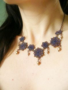handmade necklace with Miyuki seed beads and fire polished beads in matte iris blue, bronze and matte anticated gold by Craftduck on Etsy https://www.etsy.com/listing/176185636/handmade-necklace-with-miyuki-seed-beads