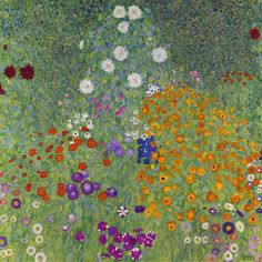 Gustav Klimt 1862 - 1918 BAUERNGARTEN (BLUMENGARTEN) signed Gustav Klimt (lower right) oil on canvas 110 by 110cm. Painted in 1907.