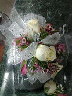 White Corsage with Pink Wax Flower