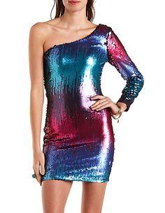 One Shoulder Bodycon Sequin Dress charlotterusse #charlottelook