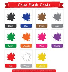 Free printable color flash cards. Download the PDF at http://flashcardfox.com/download/color-flash-cards/