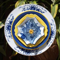 Blue Yellow Repurpose Glass Plate Flower vintage by ARTfulSalvage, $38.00