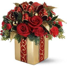 Order Teleflora's Holiday Gift Bouquet red flowers from Stamford Florist, your local Stamford florist. Christmas Flower Arrangements, Christmas Flowers, Christmas Centerpieces, Floral Arrangements, Christmas Wreaths, Christmas Crafts, Christmas Decorations, Flower Centerpieces, Christmas Tabletop