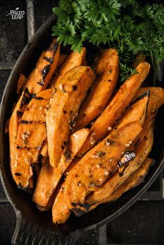 Grilled Zesty Sweet Potatoes - Craving fries? Make your own healthy sweet potato wedges with a zesty coating of lemon, garlic and parsley.