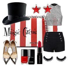 """Magic Circus"" by marinovalix on Polyvore featuring moda, Prada, Jimmy Choo, Topshop, Givenchy e Smashbox"
