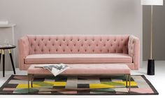 Luxuriously upholstered in plush cotton velvet, Julianne is a sofa that makes a statement. Available in Blush Pink, Petrol and Concrete.