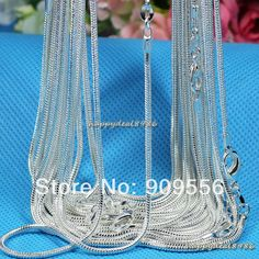 """Find More Chain Necklaces Information about Wholesale 10pcs/lot ,fashion 925 silver necklace chains,1mm 925 silver snake chain necklace 16"""",18"""",20"""",22"""",24"""",choose length,High Quality necklace wholesale,China necklace crystal Suppliers, Cheap necklace - costume jewellery from Alice Jewelry store on Aliexpress.com"""