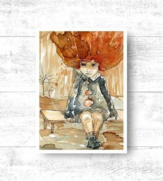 Giclee Art Print . Watercolor portrait of a child by PracowniaKBG