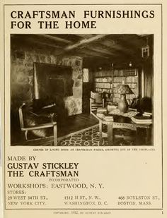 Craftsman Furnishings for the Home by Stickley, Gustav Stickley (1912).