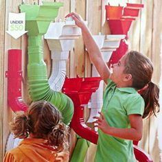 From Lowes Creative Ideas Magazine Spring You could use vinyl gutter parts or pvc to make this. Instead of screwing it to the fence maybe have a board Preschool Playground, Space Preschool, Playground Ideas, Outdoor Learning, Outdoor Play, Outdoor Projects, Diy Craft Projects, Infant Activities, Activities For Kids
