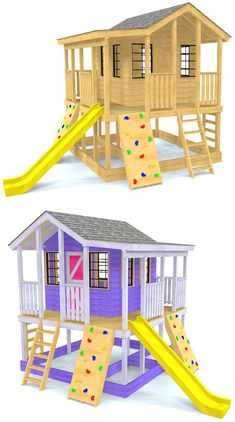 The Randy's Ranch is an elevated playhouse with a wrap around porch and plenty of room for fun accessories.