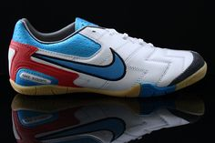 Nike5 Elastico Pro White Blue Red Indoor Soccer Shoes