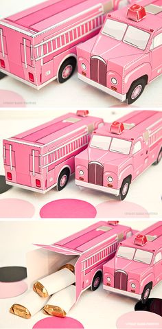 Pink Fire Truck Party Favor Boxes | Shared by LION